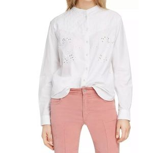 New Isabel Marant Étoile Willo Quilted Eyelet Top